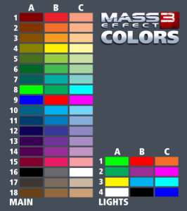 Color table for me3 multiplayer builds catalog. A1 is upper left hand corner, C18 is bottom right.